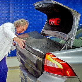 boot lid being mounted on to Volvo test vehicle