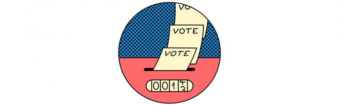 An illustration of votes being counted