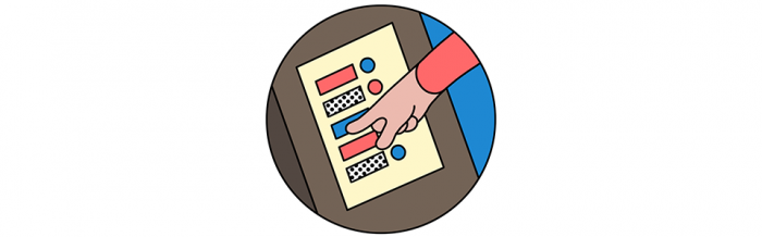 An illustration of a voting machine
