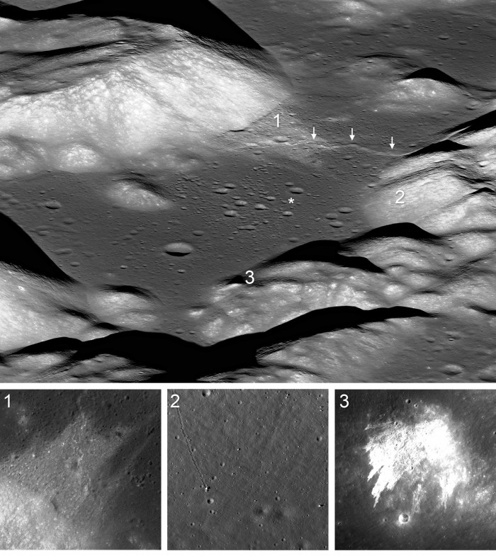 A collage of images showing the moon's tectonic plates