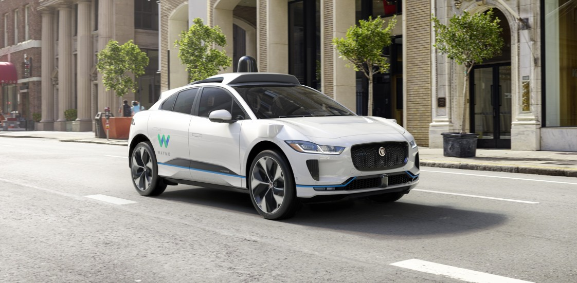 An autonomous Jaguar developed by Waymo.