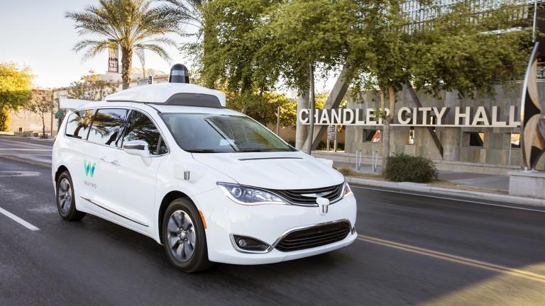 One of Waymo's driverless Chrysler Pacifica minivans