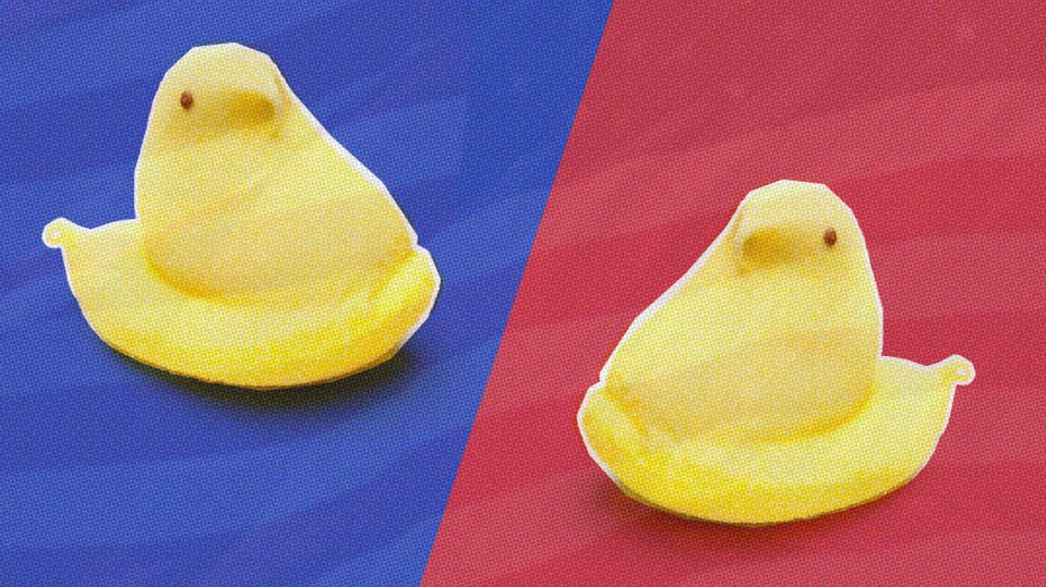 illustration of two marshmallow peeps on a red and blue background