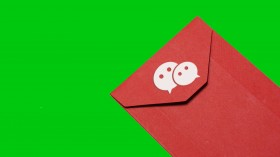 An image of a red envelope with the wechat loogo on it.