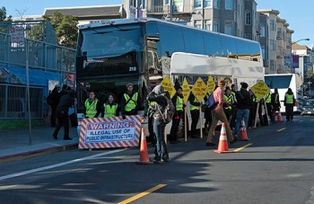 protesters outside Google bus