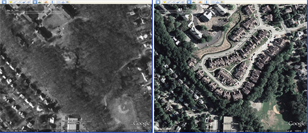 9edf39b892d Then and now  This image compares two satellite shots of the same location  in Thompsonville